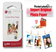 10 Pieces/Lot ORIGINAL Zink Pocket Photo Paper Smart Mobile Printer Paper